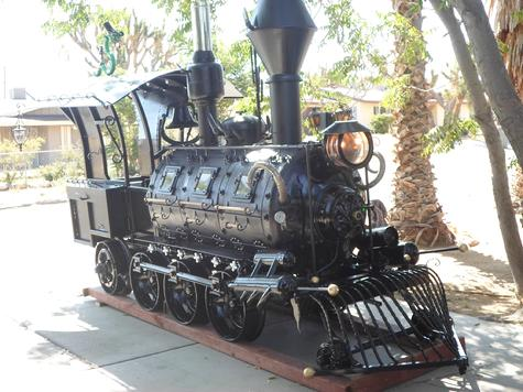 Antique Steampunk Train Locomotive Smoker Grill with Baroque Cowcatcher  Train Bell  and  5 tone  Air Whistle